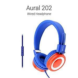 Portronics POR-672 Aural 202 Wired Headphone with in-line Mic (Red & Blue)