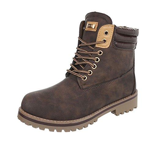 (Ital-Design Schnürstiefeletten Damen-Schuhe Blockabsatz Warm Gefütterte Schnürsenkel Stiefeletten Braun, Gr 38, H929-)