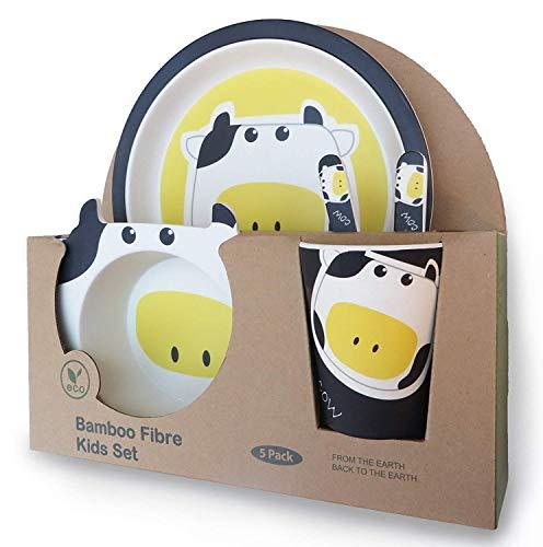 Vajilla de bambú Infantil, Material ecológico sin BPA, Apto para lavavajillas (vaca) (vaca)