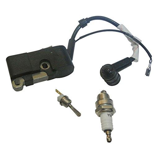 JRL - Bobina de encendido, interruptor de arranque y de parada, bujía, kit para motosierra china 4500,5200,5800,45cc, 52cc, 58cc.