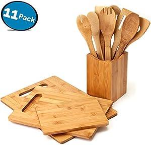LVKH Küchenlöffeln mit Set 3 Größen ambus Küchenbretter - 100% Bambus