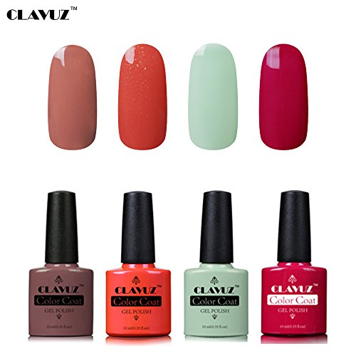 Set de Vernis à Ongles Semi-Permanent UV LED Soakoff 4pcs Kit Manucure 10ml de Clavuz-KIT 017