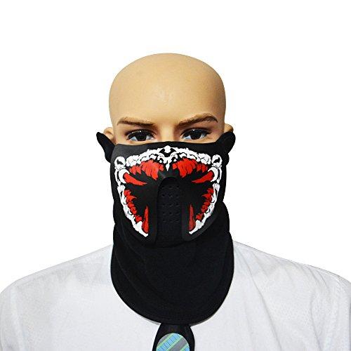 LED Leuchten Maske, Aohro Soundaktive Licht Leuchtende Cosplay Erschreckend Party Horror Led Equalizer Rave Maske für Halloween Festival (Maske Latex Alte Clown)