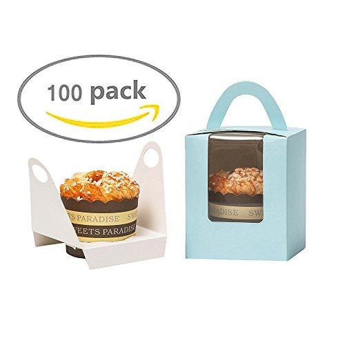 Z@SS 50 Stück Gebäck Single Cupcake Paket Boxen Muffins Container Mit Klaren Fenstergriff Und Einsätze Für Geburtstag Party Kuchen Dekoration,Blue (Cupcake-container Single)