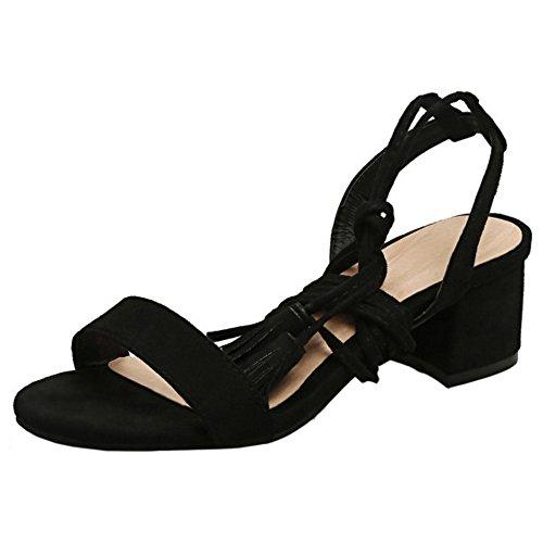 COOLCEPT Femmes Mode Lacets Sandales Gladiator Bloc Talon moyens Sandales Orteil ouvert Chaussures Noir