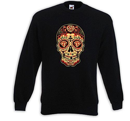Mexican Pullover Mariachi 5 Sugar Skull Rockabilly Vintage Muertos Schwarz