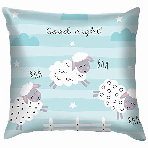 Home Fashion Pillowcase Good Night Sleep Cartoon Sheep Jump Animals Wildlife Sheep Animals Wildlife 18x18 IN