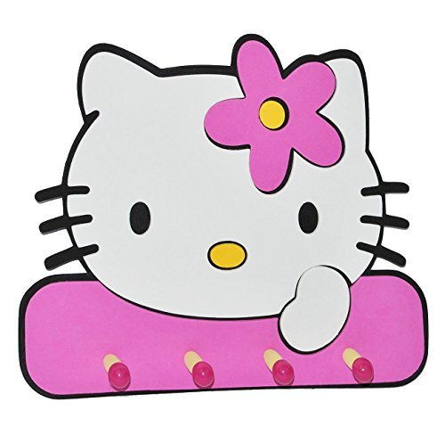 3-D Kindergarderobe - Hello Kitty - mit 4 Kleiderhaken Moosgummi - Garderobenhaken Wandhaken Kinder Garderobe Kind Wandgarderobe Haken - Kleiderhaken - Wandgarderobe  Moosgummi  Kinderzimmer Katze Kätzchen