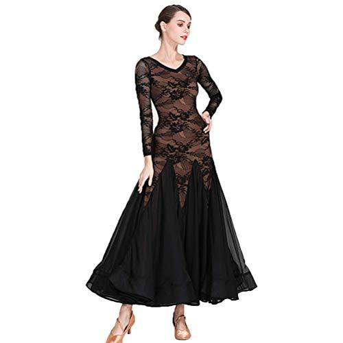 Klassisch Spitze Modern Dance Performance Dress Für Damen Standard Ballsaal Tanzkostüm Erwachsene Langarm Tango Walzer Tanz Abnutzungs Chiffon (Irischen Tänzerin Kostüme)