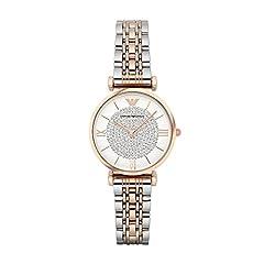 Idea Regalo - Emporio Armani AR1926 orologio al quarzo da donna, quadrante bianco, display analogico e cinturino in acciaio inox multicolore