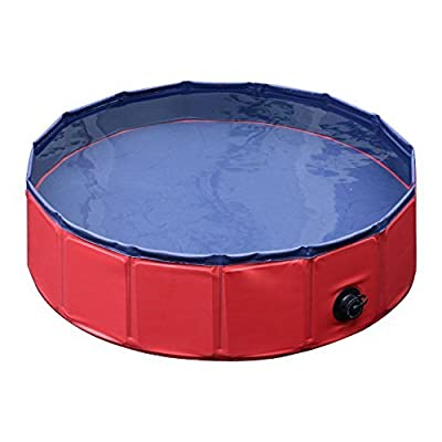 PawHut Pet Swimming Foldable Bathing Tub Pool Dog Cat Puppy Washer Indoor / Outdoor (Red, ?160 × 30H)