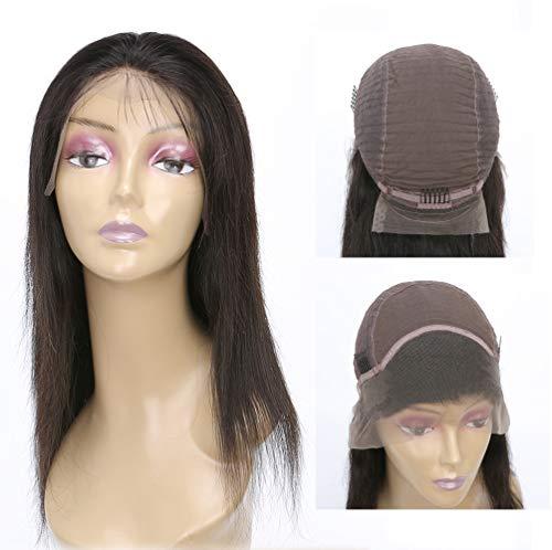 AJIAFA Frauen 150% Dichte Brasilien Gerade Echtes Menschliches Haar Lace Front Perücken mit dem Babyhaar,Black,14inches (Remi Front Lace Perücken)