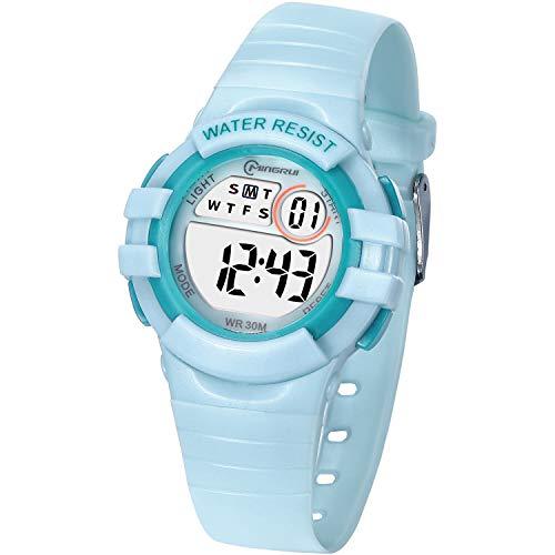 Kinder Digitaluhr für Jungen Mädchen,Wasserdicht Kinder Armbanduhr Sport LED Multifunktions mit Alarm/12/24H/Stoppuhr Weicher Gurt Armbanduhr für Jungen, Mädchen Alter 4-10 als Geschenk (Grün)