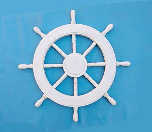 Nautisches Holz Schiff Rad Hand Craft Home Decor–Kunst–Pirat Kinderzimmer Wandbehänge–Nagina International, holz, reinweß, 41 cm