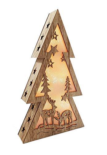 XL Weihnachtsdeko Holz LED beleuchtet mit 3D Effekt 32cm Hoch Lichterhaus Weihnachten