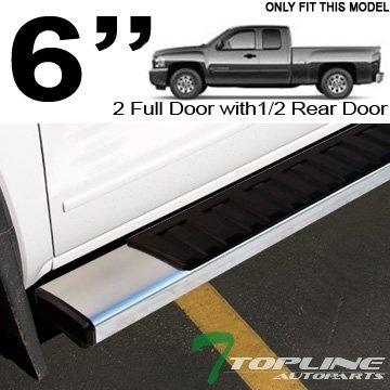 Topline Autopart 6 OE Factory Style Aluminum Silver Side Step Assist Rail Running Boards 07-16 Chevy Silverado GMC Sierra 1500 2500 3500 HD Double Extended Cab by Topline_autopart - Sierra 2500 Hd