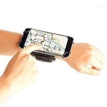 TFY Brazalete Deportivo con Open-Face + Llavero para Móvil de 4 a 5.5 Pulgadas (solo admite grosor de esquina del teléfono de:<9.2mm) - (Diseño Pantalla Abierta - Acceso Directo a los Controles de Pantalla Táctil) - iPhone 5 / 5 S iPhone 6 (Plus) -iPod Touch 5th &6th Generation - Nexus 5 - Lumia 925 / 630 - Samsung Galaxy S4(9500) / S5(G900) / S6 / Note 2 (N7100) - HTC One (Max & Mini) / Desire / Butterfly y Otros (Negro/Negro)