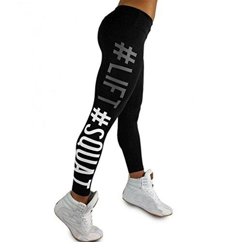 Damen Hosen, GJKK Damen Mode Training Leggings Fitness Sport Gym Running Yoga Sporthose Gedruckt Training Tights Sport Workout Leggings Yoga Pants Skinny Tube Trousers Trainingshose (Schwarz, L)