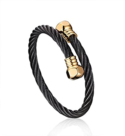 Stainless Steel Twist Rope Wire Cuff Bangle Bracelet for Men & Women,Black,Gold,9