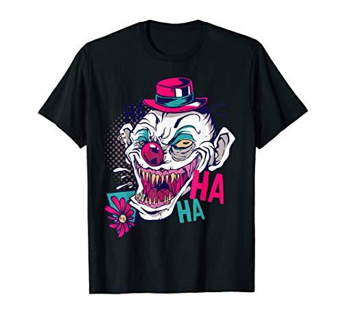 Clown Maske Gesicht Kostüm Halloween Horror Geister Cartoon T-Shirt (Candy Gesicht Kostüm)