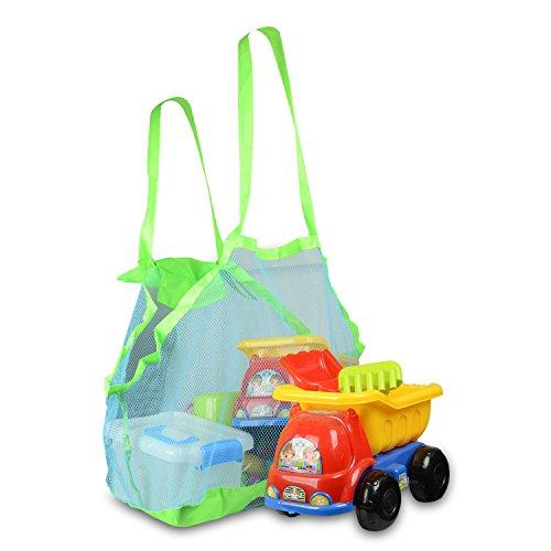 Fstoption Kinder Strand Aufbewahrung Netz Tasche für Sandspielzeug, Strand Mode und Faltbar Mesh Beach Tote Bag für Schwimmen StrandSpielzeuge