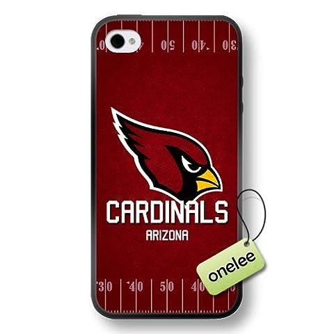 NFL Arizona Cardinals équipe Logo iPhone 4/4S Noir en caoutchouc souple (TPU) Case Cover–Noir