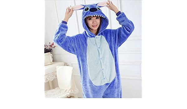 7c4925e87b MH-RITA Women Character Stitch Pajamas Set Adult Coral Fleece Sleepwear  Animal Pajama Womens Full Sleeve Hooded Pijama Flannel Pijamas Blue Xl  ...
