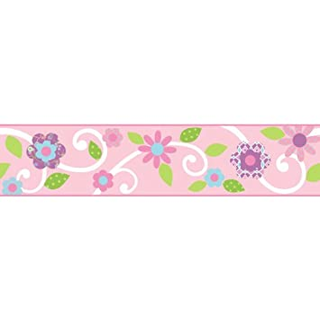 RoomMates Repositionable Childrens Wall Sticker Border Floral Scroll Pink