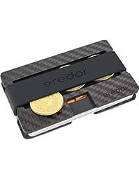 eredar™ Slim-Wallet mit Münzfach – Kreditkartenetui aus schwarzem Carbon mit RFID & NFC Schutz – Minimalistisches und Elegantes Mini-Wallet – Geschenk für Ihn
