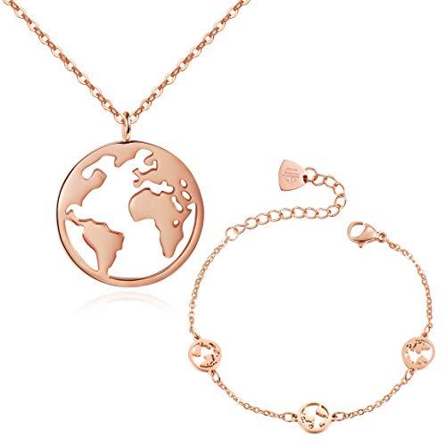 URBANHELDEN - Worldmap Schmuckset Damen - Halskette & Armband mit Weltkarten Anhänger - Kette Amulett aus Edelstahl und Armkette mit drei kleinen Weltkarten - Schmuck-Set 1 Rosegold