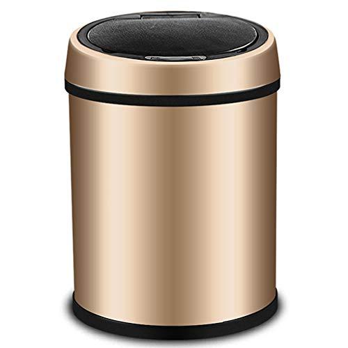 WFFXLL Haushalts-Mülleimer aus Edelstahl, intelligenter Mülleimer, Küche, Schlafzimmer, Büro, Badezimmer Mülleimer (Farbe : Gold, größe : XL)