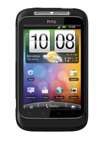 HTC HTC Wildfire S Smartphone (8.1 cm (3.2 Zoll) Touchscreen, WiFi (b/g/n), Android OS 2.3.3) schwarz