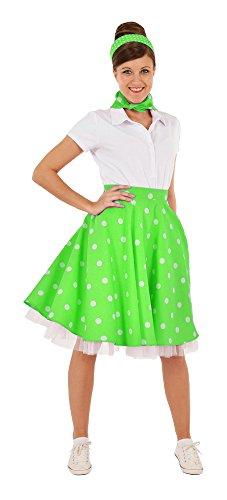 Tellerrock mit Halstuch Kleine Punkte Grün Weiß Gr. M - Wunderschöner Rockabilly Rock im Stil der 50er Jahre Mottoparty oder Sommeroutfit (Stil Röcke 50er Der Jahre Im)