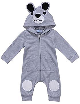 Kleinkind Baby Jungen Mädchen Herbst Langarm Cartoon Bär Mit Kapuze Strampler Reißverschluss Overall Outfits