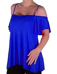 Eyecatch TM - Cherie Frauen Off-The-Shoulder Riemchen Cami Weste Damen Kalte Schulter Mode Schaukel Top