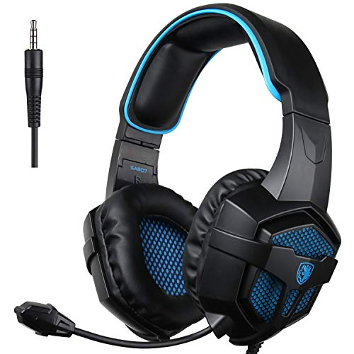 SADES SA-807 Playstation 4 Pro Xbox One S Stereo Headset Over-Ear Gaming Kopfhörer mit Mikrofon für PC PS4 iPad Mobile Tablet Mac (Schwarz & Blau)