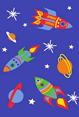 Space Rockets Planets Rugs Children's Bedroom Mats High Quality Easy Clean 4 Sizes