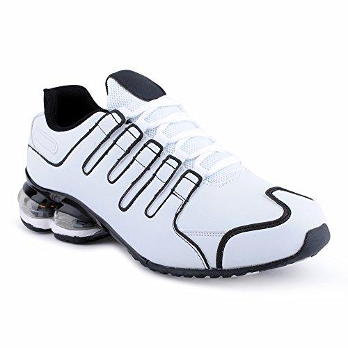 Herren Damen Sneaker Sportschuhe Lauf Freizeit Neon Runners Fitness Low Unisex Schuhe Weiss/Schwarz-M EU 45