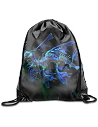 sexy world Animal Leafy Seadragon Blue Printed Cute Drawstring Backpack Girls Lightweight Daypack Tote Travel 16.9