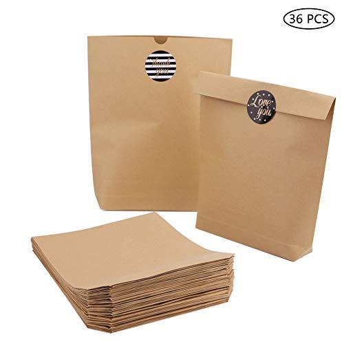 Tebery 36 Sacs en Papier Marron Sachets Cadeau Pochettes Sachets 21 x 26 x 4.5 cm Papier Kraft Sacs avec 36 Sticker Utilisé dans Party, Wedding, Cafes, Anniversaire, Noël et Pques
