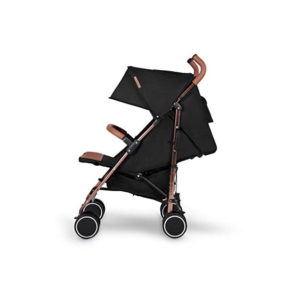 Ickle Bubba Baby Discovery Stroller| Lightweight Stroller Pushchair | Compact Fold Technology for Easy Transport and Storage | UPF 50+ Extendable Hood | Black/Rose Gold Ickle Bubba ONE-HANDED 3 POSITION SEAT RECLINE: Baby stroller suitable from birth to 20kg-approx. 4 years old; features rain cover UPF 50+ RATED ADJUSTABLE HOOD: Includes a peekaboo window to keep an eye on the little one; extendable hood-UPF rated-to protect against the sun's harmful rays and inclement weather LIGHTWEIGHT DESIGN WITH COMPACT FOLD TECHNOLOGY: Easy to transport, aluminum frame is lightweight and portable-weighs only 7kg; folds compact for storage in small places; carry strap and leather shoulder pad included 5
