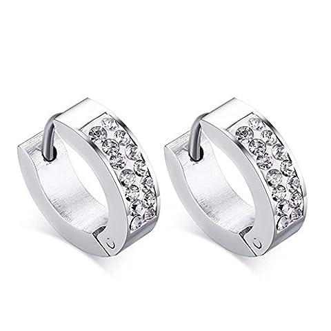 BOUCLES Boucles d'oreilles Fashion Style Simple Argent imitation diamant Sterling Cercle Bijoux en argent pour Party Daily Casual , 13*4mm