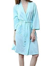 GODGETS Kimono Batas Mujer Hombre Verano Algodon Sexy Elegante con Cinturon Suave Comodo y Agradable