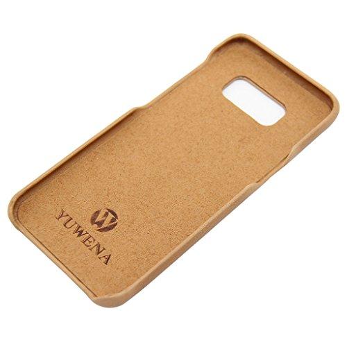 Samsung Galaxy S8 Tasche, YUWENA Galaxy S8 Cover Leather Case Card Slot Etui Cover Phone Case für Galaxy S8 Brown Brown