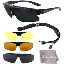 Modelglasses: Gafas de sol INNOVATION PLUS, negras RX GRADUADAS, POLARIZADAS para RC, tenis y otros deportes. Cristales intercambiables (x4: Cat 0,2,3,4). Para hombre y mujer. Protección UV400