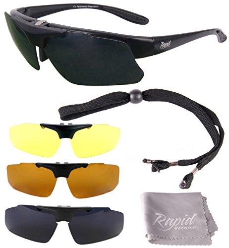 Innovation Plus UV400 Schwarz Rx Polarisierte Sport Brillen mit Wechselgläsern für Joggen (Laufen), Tennis, Ski, Fahrrad etc