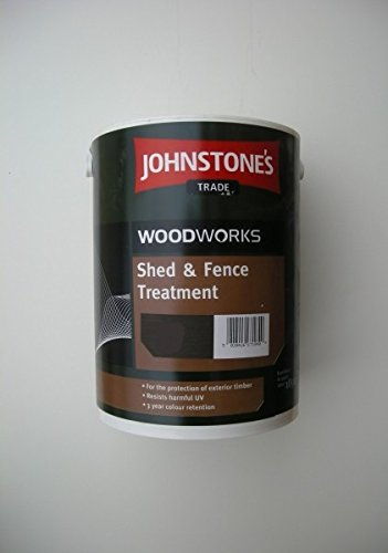 5 LTR JOHNSTONE'S WOODWORKS SHED & FENCE QUICK DRY WOODSTAIN EBONY