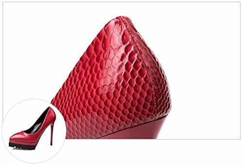 FLYRCX Personalità Sexy rosso tacco sottile scarpe lady shallowly parte appuntita scarpe,38 38