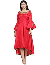 AD Fashions Up And Down Pattern Frill Sleeves Raw Silk Embroidery Work Kurti For Women