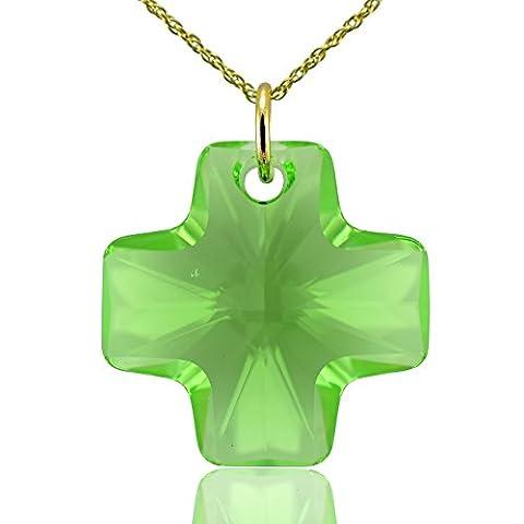 Collier Croix or massif 9ct et vert peridot cristaux Swarovski 40,6cm 45,7cm 50,8cm ou pendentif uniquement: 0,0